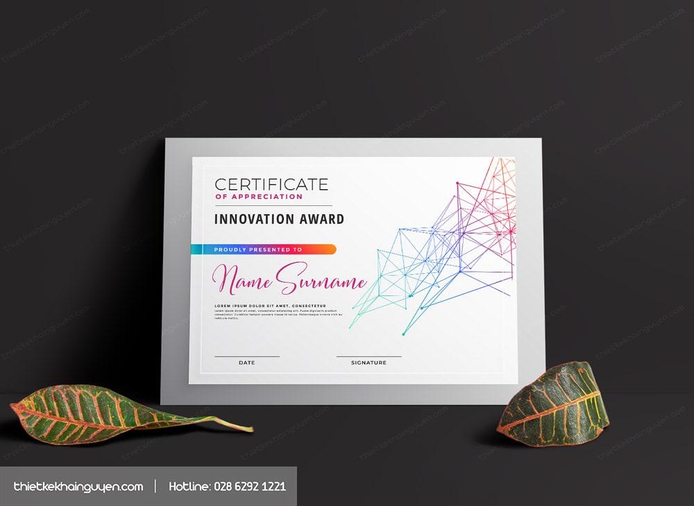Mẫu giấy chứng chỉ với thiết kế đầy màu sắc