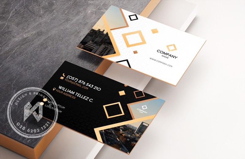 Cách bố cục card visit đơn giản - mẫu in card viền cạnh