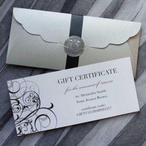 Bộ gift certificate đẹp không kém cạnh thiệp mời