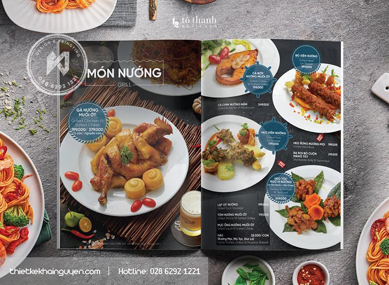 Món Nướng trong mẫu thiết kế menu nhà hàng