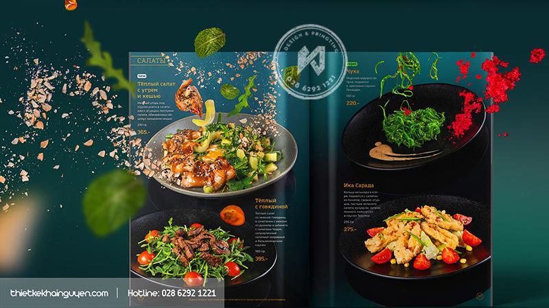 Mẫu thiết kế menu cho nhà hàng ảo tung chảo