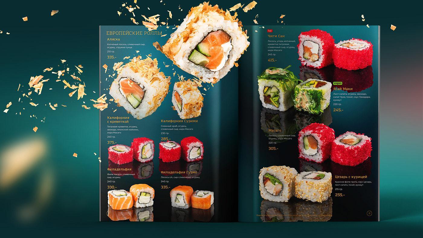 Mẫu menu nhà hàng Sushi ấn tượng