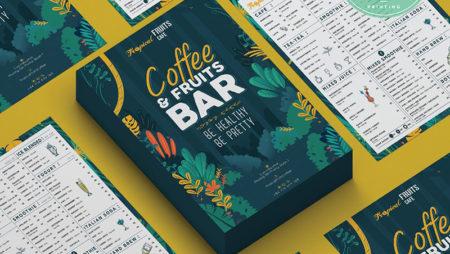 Bộ thiết kế in ấn Coffee – Tropical Fruits Cafe hoa lá mùa hạ