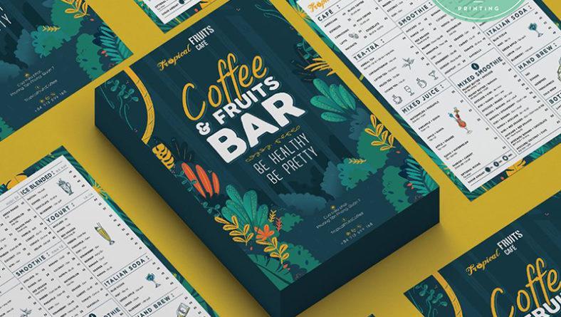Mẫu tờ rơi quán cafe Topical Fruits với thiết kế bắt mắt