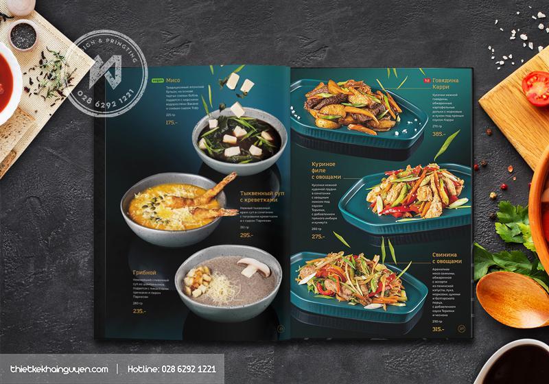 Thiết kế menu nhà hàng đẹp lung linh không tì vết