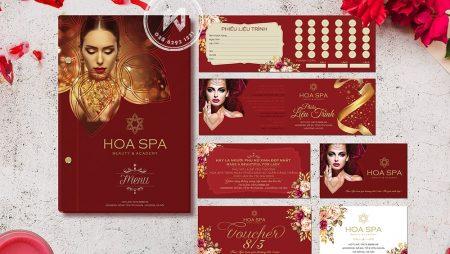 Hoa Spa Branding: Logo menu, card visit, voucher, thẻ liệu trình