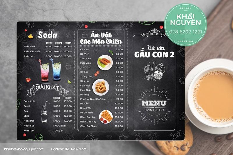 Thiết kế menu bảng A3 cho quán trà sữa Gấu Con