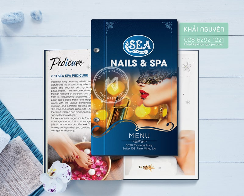 Sea Nails & Spa - dạng menu đóng gáy ốc ngoài