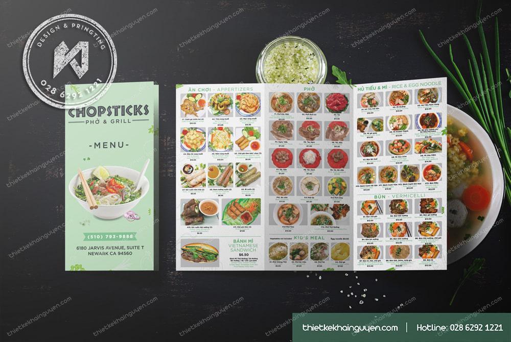 Thiết kế menu bảng A3 gấp gấp 3 để tại quầy order