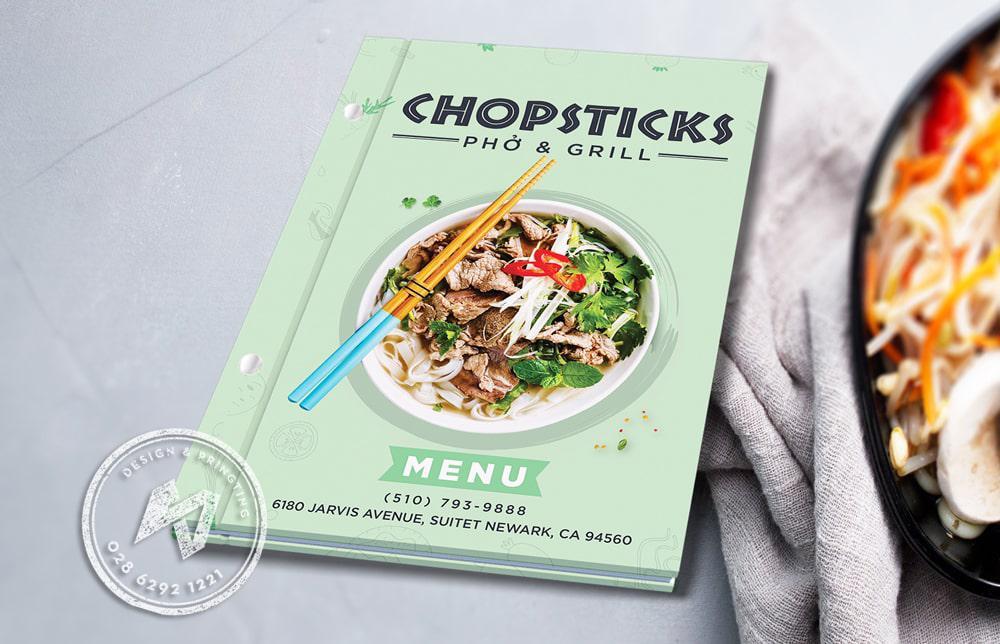 Chopstick Menu - In menu bìa cứng