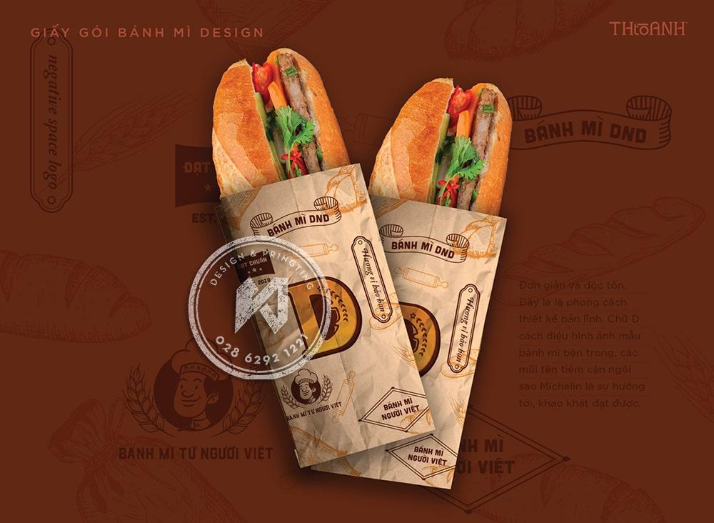 Giấy gói bánh mì thể hiện đặc trưng thương hiệu bánh mì Việt