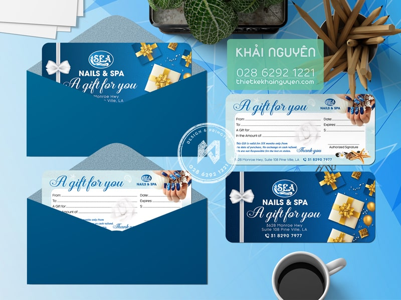 Gift voucher Nails & Spa xanh sâu thẳm