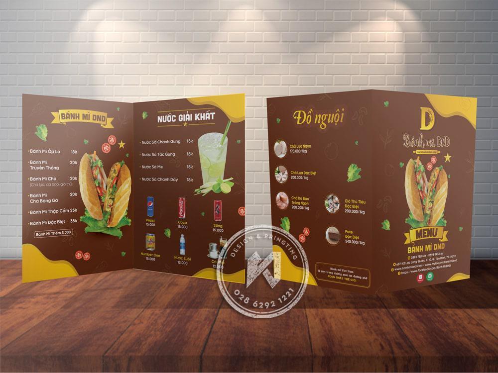 Thiết kế menu bánh mì dạng A3 gấp đôi