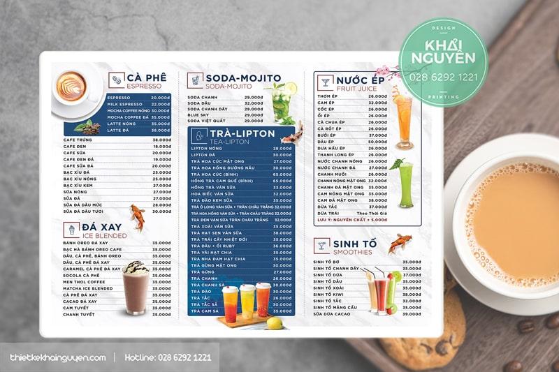 Thiết kế menu bảng A3 sang chảnh cho quán cafe, quán nước
