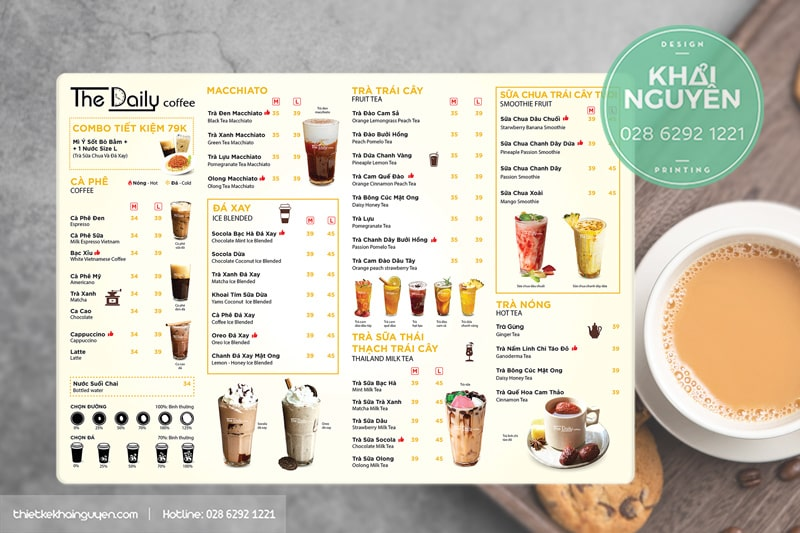A3 menu Daily Coffee - mẫu thực đơn quán cafe trà sữa