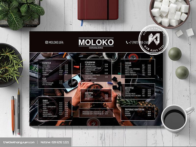 Những bảng menu A3 được thiết kế kiểu Cool Ngầu