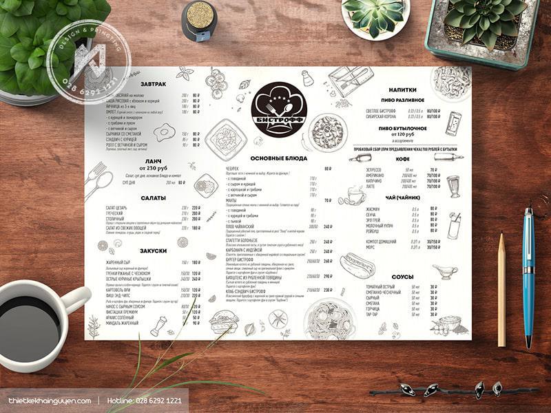 Thiết kế menu nhà hàng Nga cũng sử dụng kiểu design tối giản