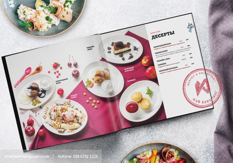 Mẫu thiết kế thực đơn cho nhà hàng - phần bánh ngọt
