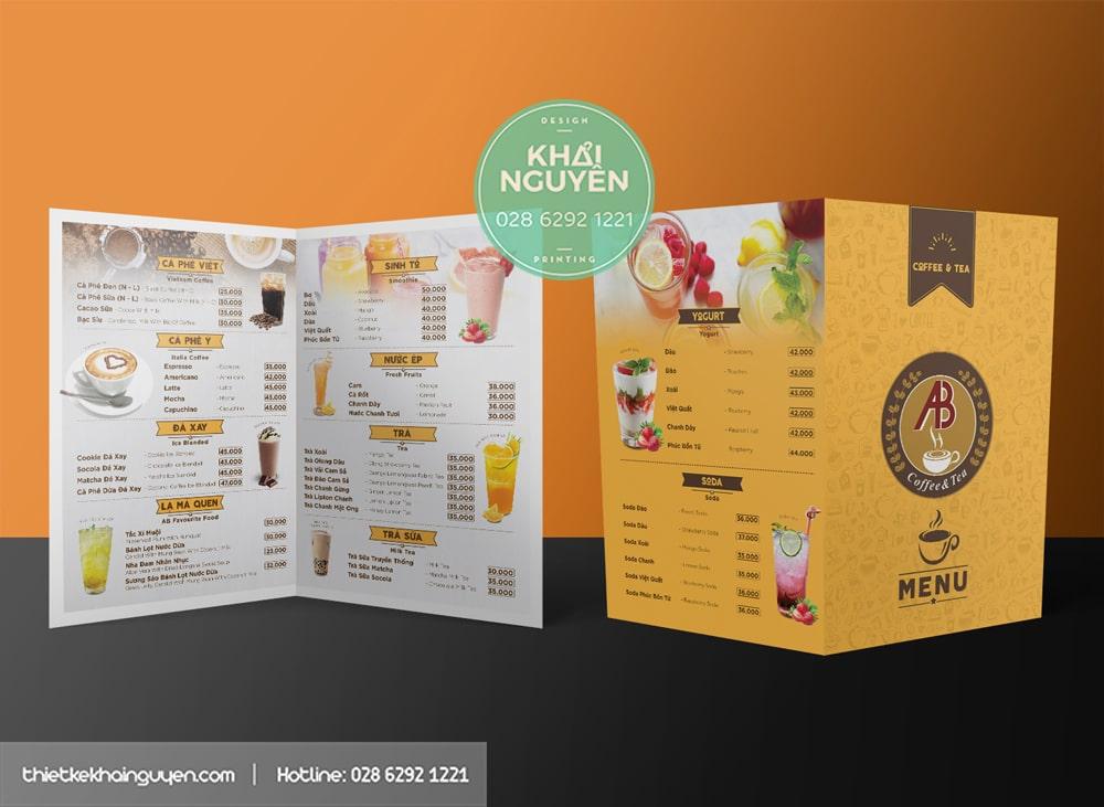 Dạng thiết kế menu bảng quán cafe dạng A3 gấp đôi