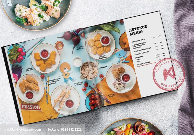 Thiết kế menu nhà hàng vuông vức hoàn hảo