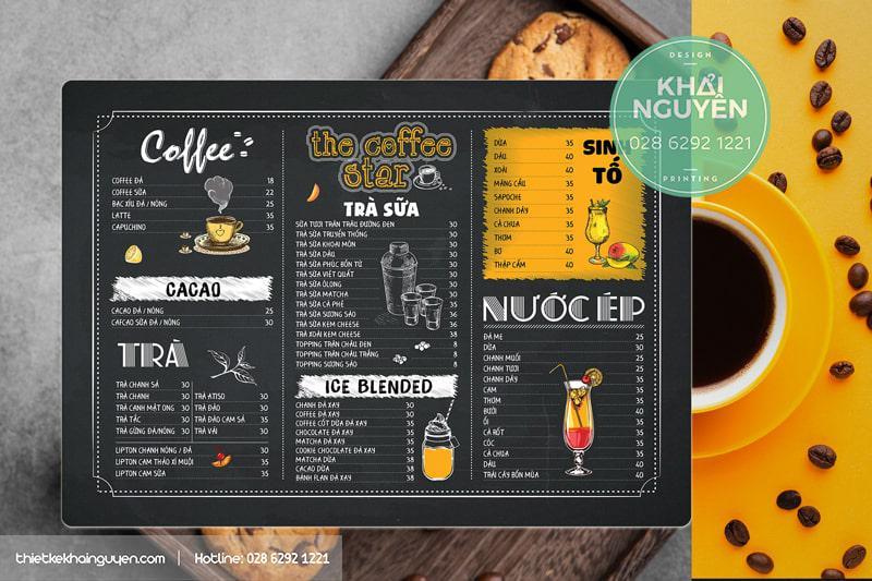 Thiết kế menu bảng cafe - dạng menu nhựa A3