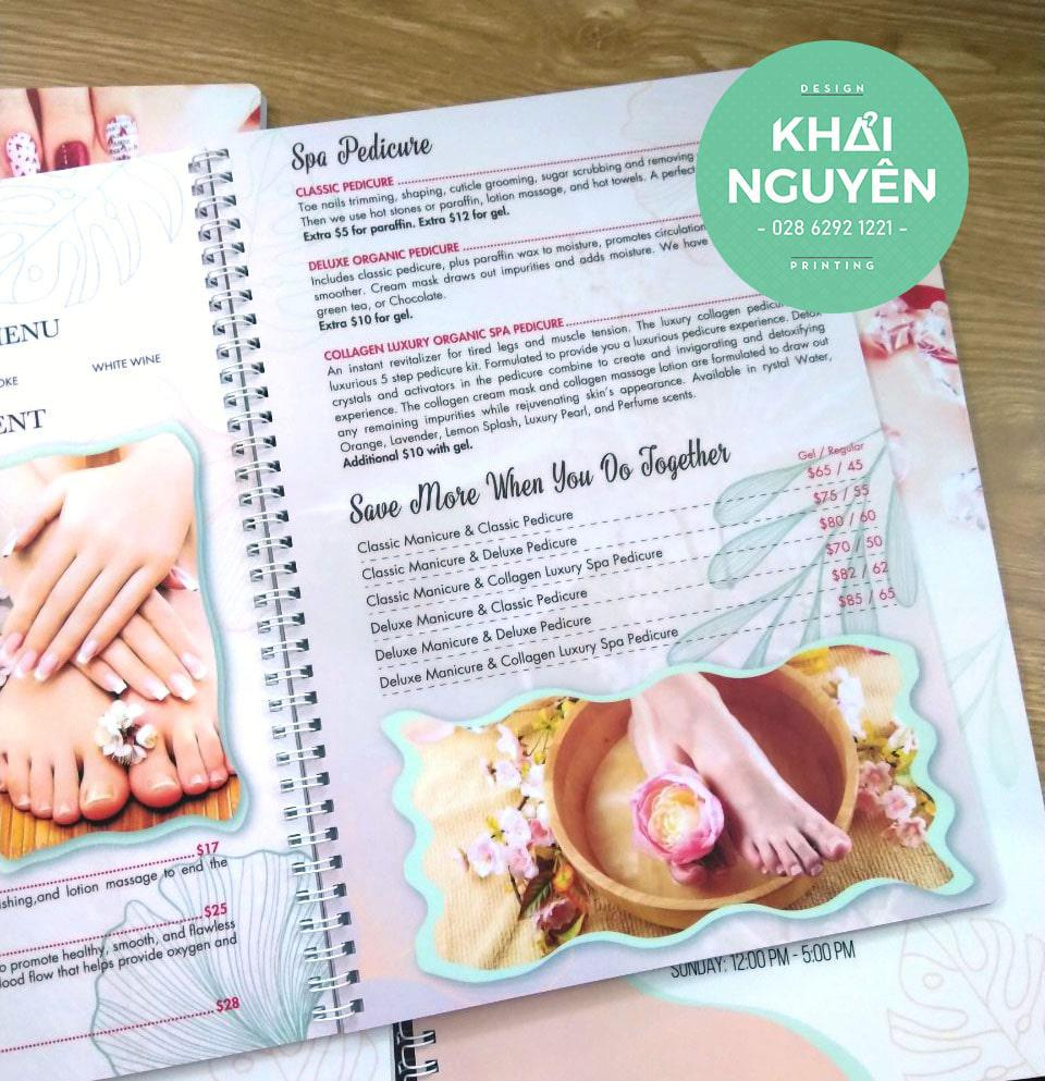 Cuốn menu nhựa PVC đóng gáy lò xo - Nails Spa Menu perfect