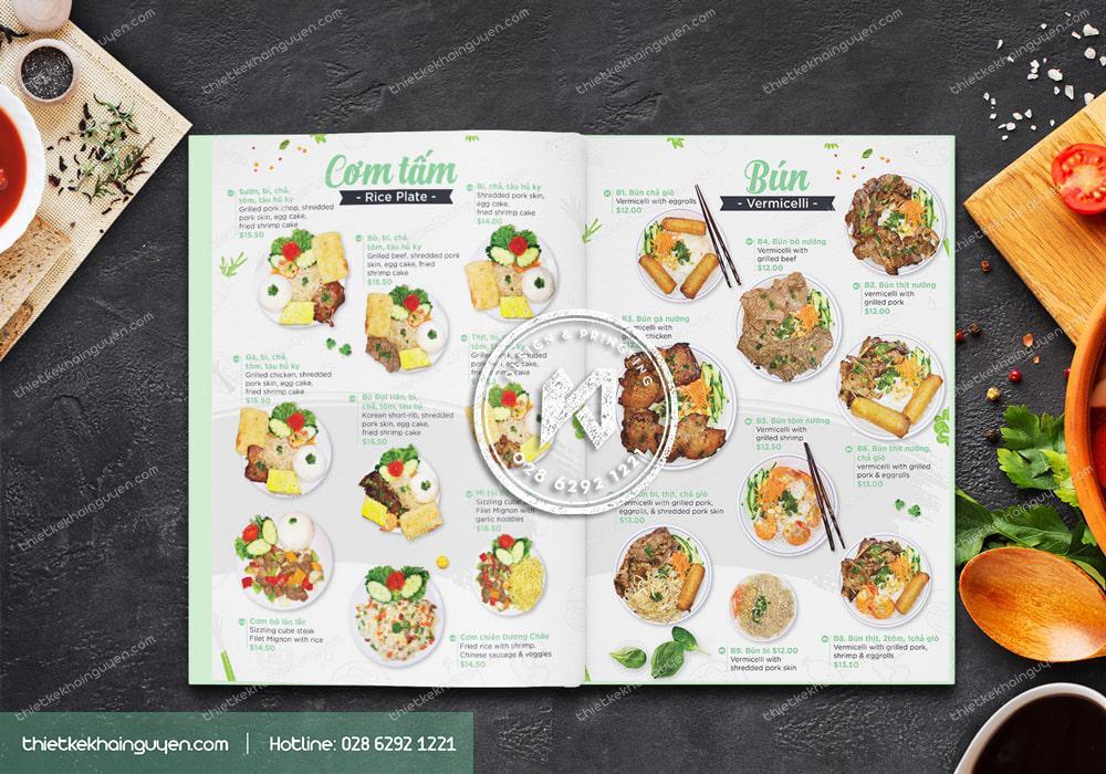 Thiết kế menu phở Chopsticks phần bún và cơm tấm