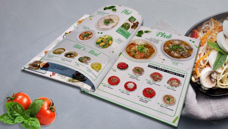 Thiết kế menu quán phở dạng bìa bồi carton gáy ốc