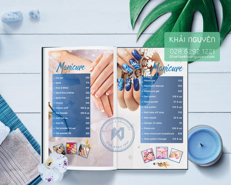 Mẫu thiết kế menu Sea Nails & Spa