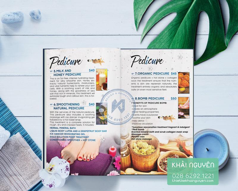Thiết kế menu Sea Nails Spa Pedicure - nét đẹp biển cả