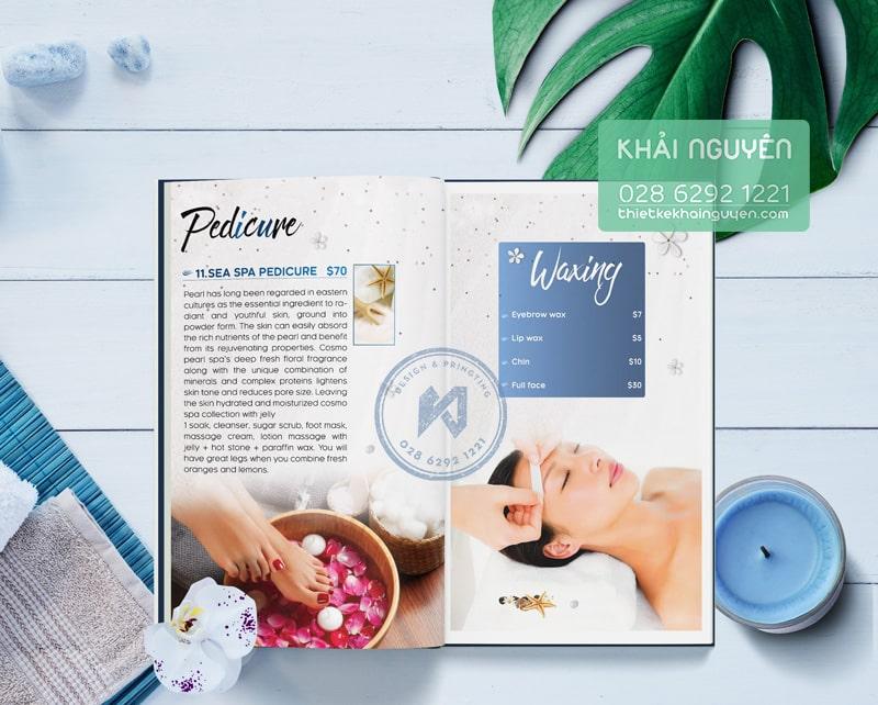 Mẫu thiết kế menu Nails Spa chủ đề biển xanh