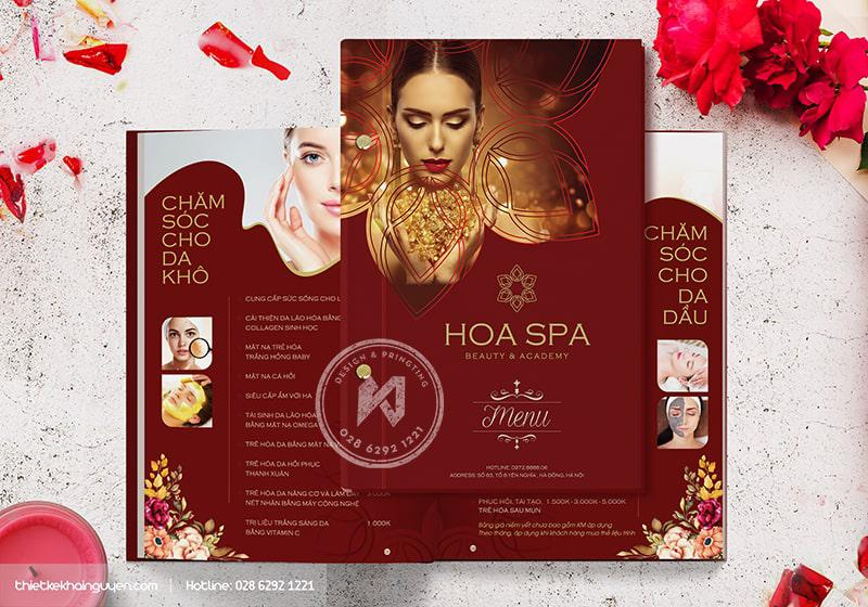 Mẫu thiết kế menu Spa rực rỡ sắc hoa - Hoa Spa Branding