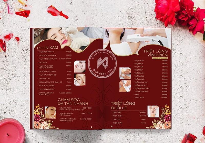 Mẫu thiết kế menu Spa Beauty