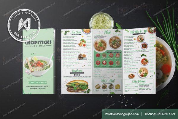 Thiết kế menu Take Away Phở Chopticks - nhà hàng Việt tại Mỹ