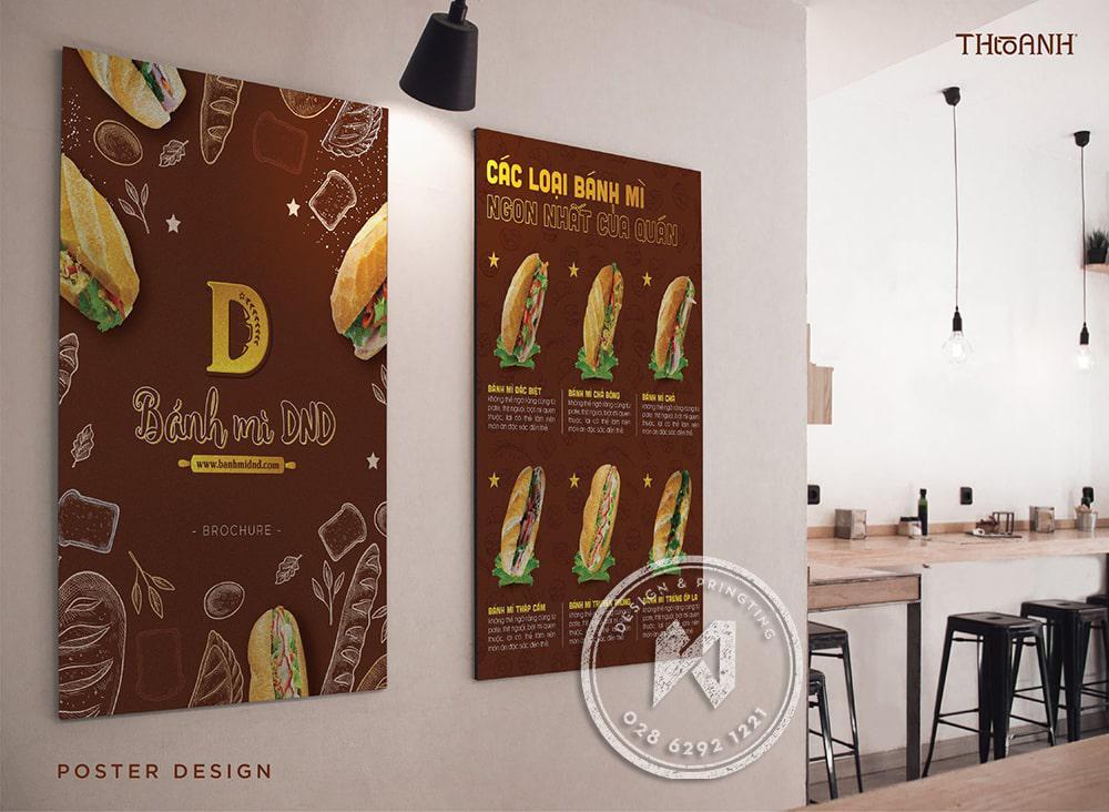 Poster hay menu dán tường tại tiệm bánh mì