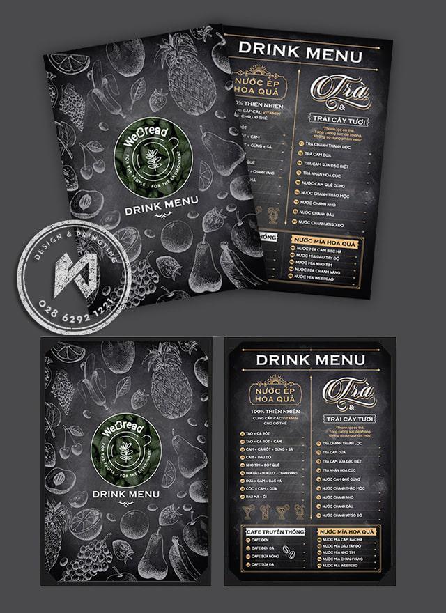 We bread drink menu Black - thiết kế menu dạng bảng phấn