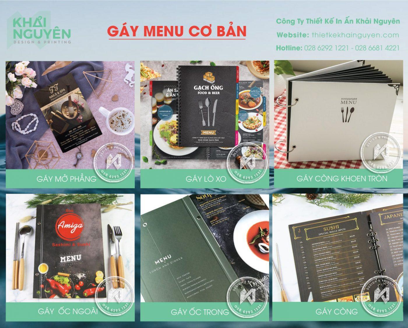 Gáy menu cơ bản - cách đóng cuốn menu bìa cứng