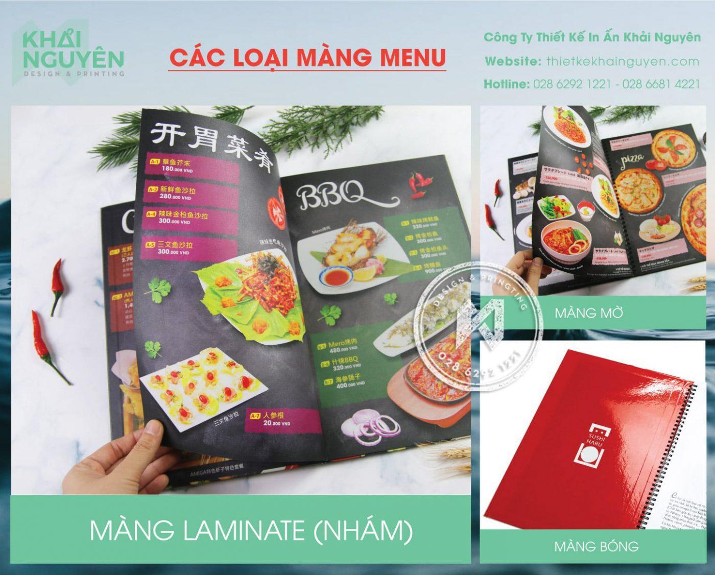 In menu bìa cứng và các loại màng
