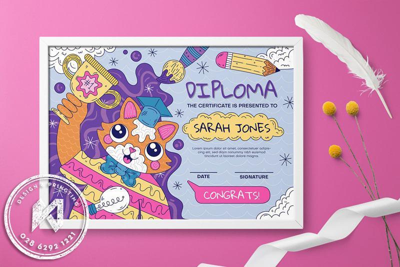Diploma - mẫu bằng khen đẹp cho mẫu giáo sinh động