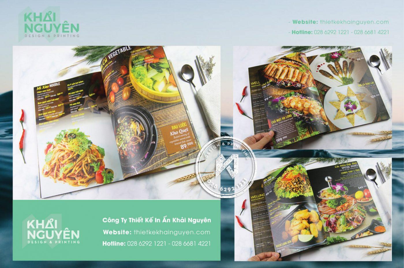 Ruột menu được in từ nhựa mỏng - Nhà hàng Wellington