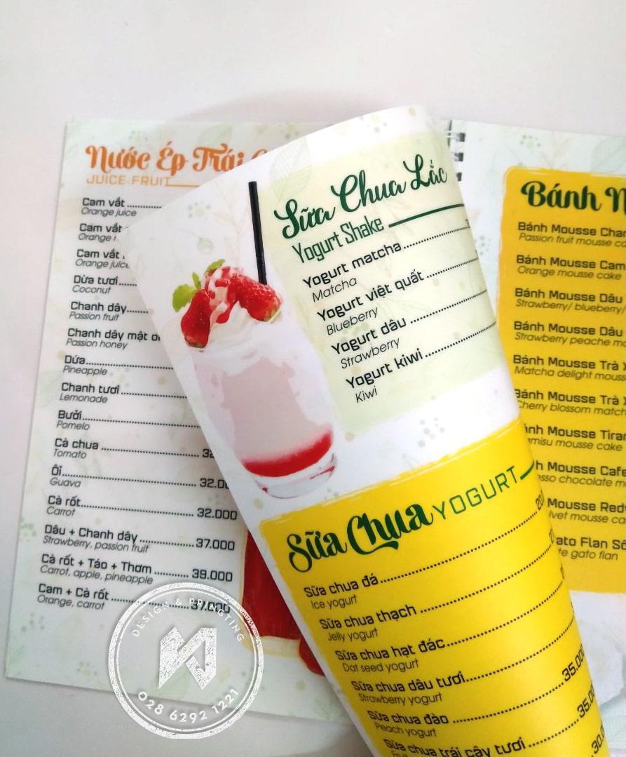 In menu giấy nhựa siêu mỏng cho quán cafe