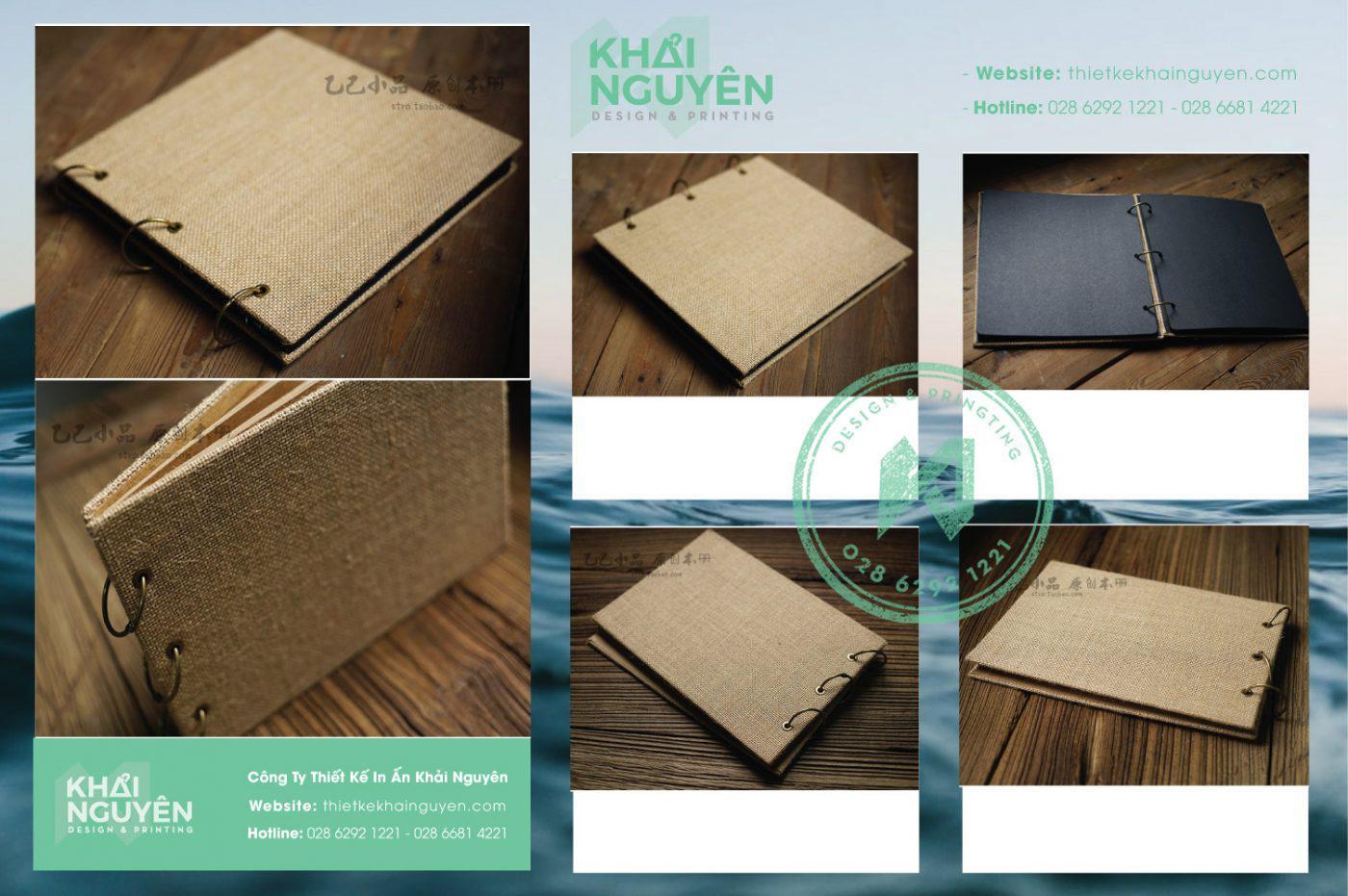 Bìa menu vải đóng còng khoen tiện dụng