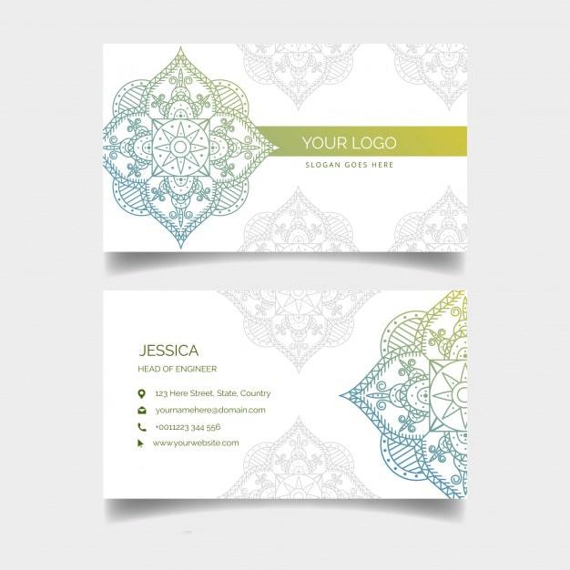 Thiết kế card visit hoa văn Mandalas
