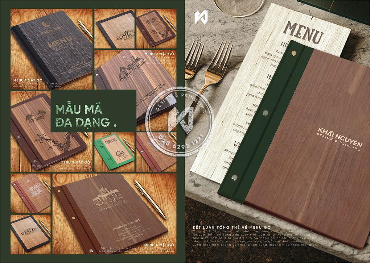 Làm menu gỗ, in thực đơn bìa gỗ đẹp tự nhiên