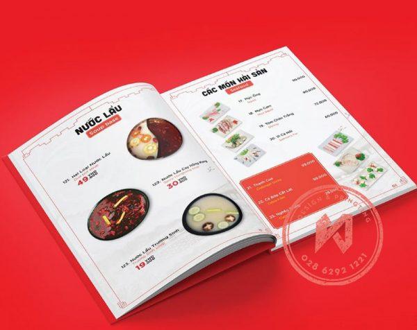 Mẫu in menu bìa cứng gáy keo cho quán lẩu