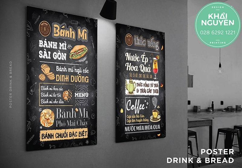 In menu dán tường tiệm cafe thức ăn nhanh