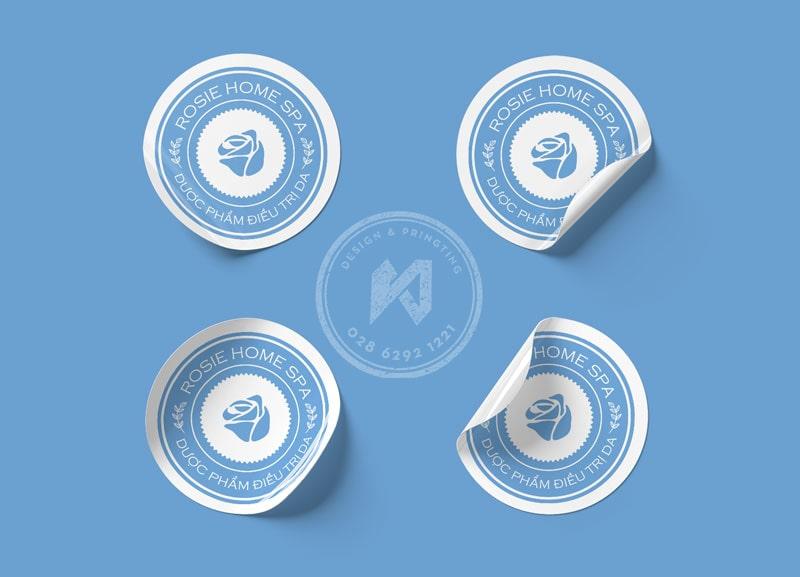 In logo decal dán mỹ phẩm & Spa với decal nhựa đục