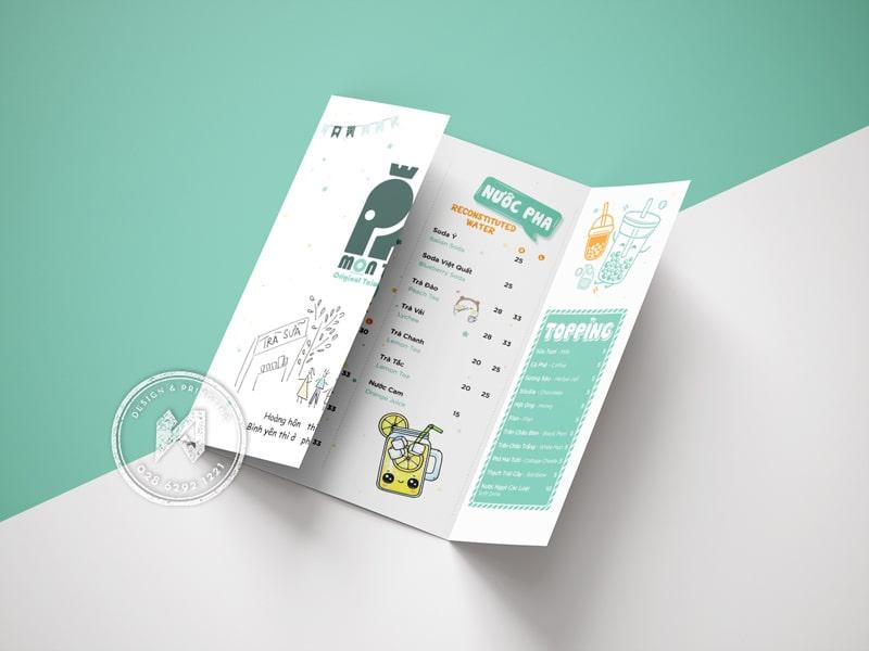 Mẫu thiết kế menu trà sữa dạng gấp cửa sổ dễ thương