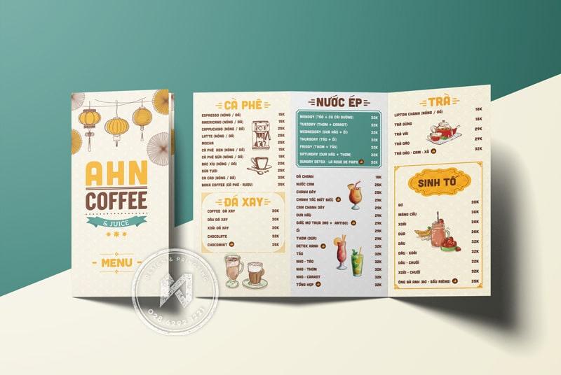 AHN Coffee Menu - dạng tờ gấp 3 tiện dụng