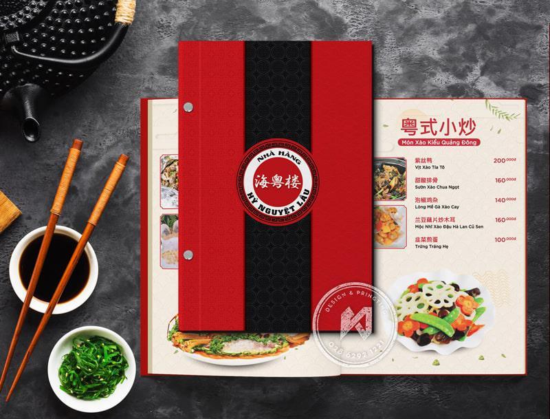 Bộ thiết kế menu cho nhà hàng TRUNG HOA - HỦY NGUYỆT LÂU